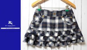 ライダースジャケットに合わせても◎ BURBERRY BLUE LABEL(バーバリーブルーレーベル) 3段フリルチェック柄ミニスカート|サイズ:38(ウエスト:72cm)|USED[682222775334]