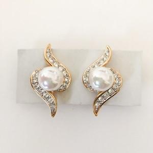 """""""NINA RICCI"""" pearl & rhinestone earring[e-1084]"""