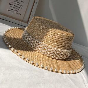 パール付きストローカンカン帽