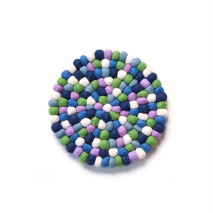 Felt Ball Pot Mat / Purple Green