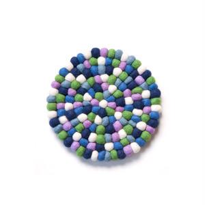 Felt Ball Pot Mat / Purple Green