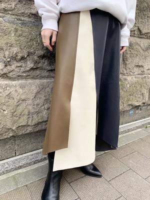 レザーアシンメトリースカート[Color:ブラウン]