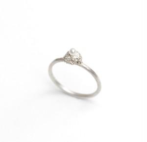 ヴァイオリン、ヴィオラ弦を溶かし固めたパール付きシルバーリング  Melted ring (pearl)  #1