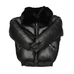 Sale DaRucci Leather Men V Bomber Black Fur / Black