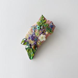散歩の途中で見つけた草花ブローチ&クリップ<大>