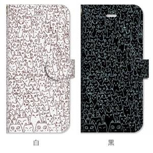 にゃんこ大集合 ブラックorホワイト 手帳型iPhoneケース