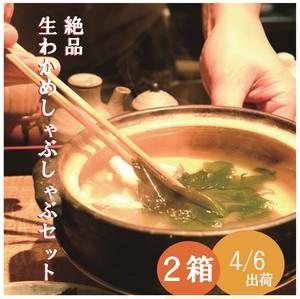 絶品!!生わかめしゃぶしゃぶセット(2箱) 4/6〔金〕出荷