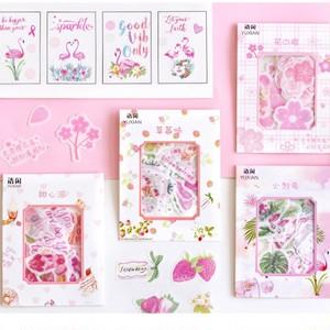 ピンクシリーズ フレークシール 全8種 ステッカー 春 花 桜 フラミンゴ 桃 ミニサイズ A30