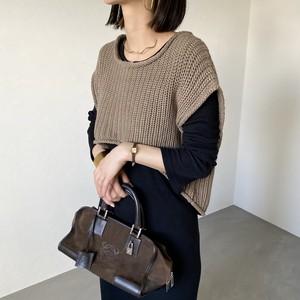 short hem knit vest/moca