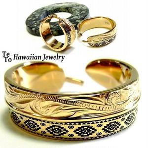 【HawaiianJewelry / ハワイアンジュエリー】 リング/指輪 フェザー オルテガ柄 K14イエローゴールドコーティング