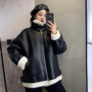 【アウター】ファッション裏起毛無地長袖ジッパーコート24640389