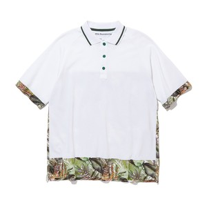 BOTANICAL PRINTED RAGLAN POLO SHIRT -WHITE