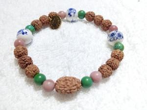 3面(カルマ解消)&陶器ビーズ(梅の花)★ブレスレット