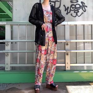 vintage botanical jumpsuit - pink × beige -