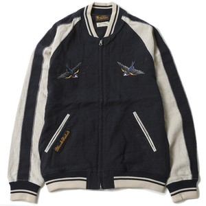 """SWALLOW LINEN SOUVENIR JACKET < ART WORK by H.U. >"" (NAVY / BEIGE) / RUDE GALLERY BLACK REBEL"