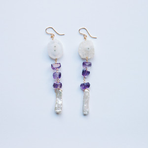 Solar Quartz × Amethyst × Pearl Pierced Earrings
