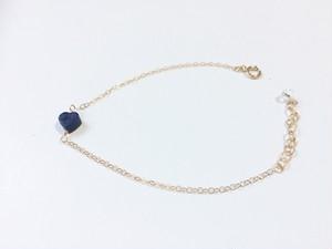 14kgf heart lapis lazuli bracelet