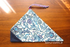 リバーシブル箸袋(紺×紅型風) / REVERSIBLE CHOPSTICKS BAG(NavyBlue * Flower)