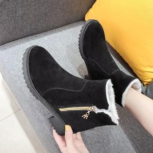 【シューズ】丸トゥカジュアルジッパームートン暖かいローヒールショート丈ブーツ25430737