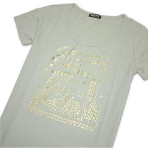Tシャツ レディース 半袖  モスグリーン地に夜景とロゴ:ゴールド Mサイズ 【ゆうパケットOK】3枚まで可 [170018]