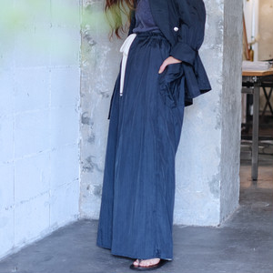 Reversible wide pants  [ Black × Natural ]