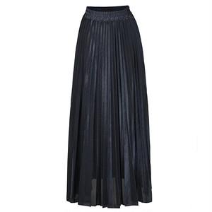 2905レディース ロングスカート 膝丈 ミモレ丈 ハイウェスト Aライン ミディアム丈 プリーツスカート ウェストゴム 黒 ブラック 大きいサイズ 女装