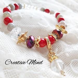 天然石Redカラーブレス◆赤珊瑚×ラブラドライト×水晶