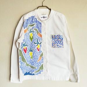 womens スタンドカラーフランネルシャツ 玉蜀黍とピンボール柄オフ色 SHI-0020
