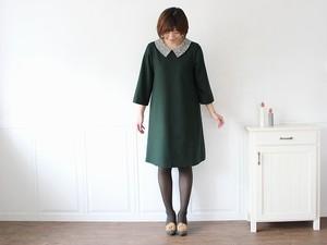 【Mサイズ】衿リバティ ワンピース グリーン affetto ハンドメイド