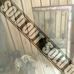 ≫イタリアンヴィンテージ*古いフラワーパターンフレームの大きなウォールミラーH69.5cm*伊製*花柄*壁掛け鏡*大型*ビンテージ*アンティーク
