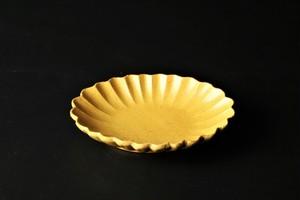 黄瀬戸菊割小判皿 清水焼