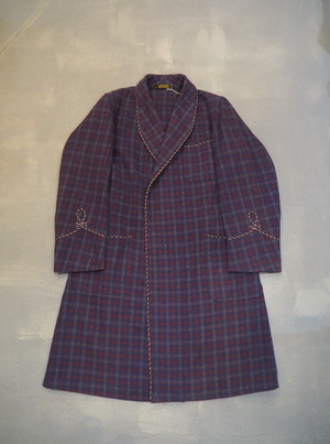 Vintage Dressing Gown Smoking Jacket / Made in England [L-197]