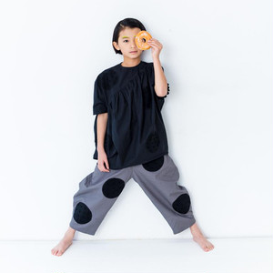 UNEVEN DOTS SLANT GAHTER DRESS