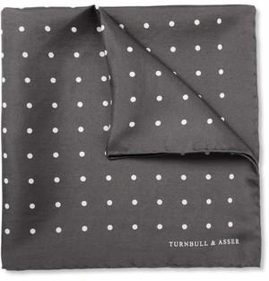 【Turnbull & Asser】 ターンブル&アッサー ポルカドット シルク ポケットチーフ グレー