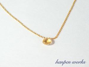 14kgf 11月の誕生石 宝石質 シトリン 一粒 ネックレス