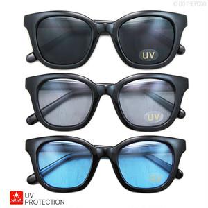 ウェリントンサングラス ライトスモークレンズ F|メンズ UV カラーレンズ カジュアル ストリート 青レンズ ブルー アイウェア