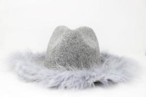 RIMI&Co.SELECT フェザートリミング ウールハット 中折れ帽 グレー