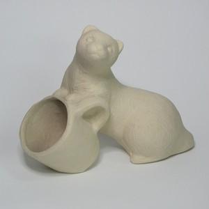 イタチとカップ  陶器(信楽焼)製【SO-9886】