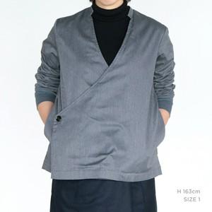 JK-26 立衿作務衣 伸縮綾織 杢灰