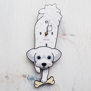 D-14 マルチーズ(白) - 犬の振り子時計