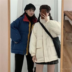 【アウター】秋冬韓国系カジュアル通勤切り替えスタンドネックジッパー配色アウター