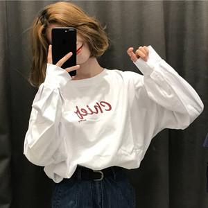【トップス】長袖簡約・シンプルプリントアルファベットTシャツ