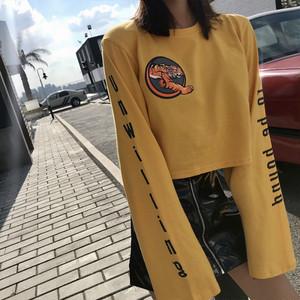 【トップス】韓国系プリントラウンドネックミニ丈長袖Tシャツ23310443