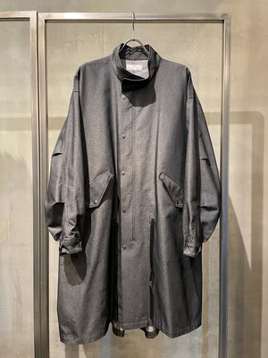 T/f Lv7 cotton polyester twill fishtail coat - combined black