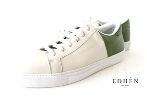 【Sold Out】エデン|EDHEN MILANO|レザースニーカー|グリーン×ホワイト