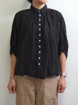 Brocante ブロカント グランシャツ ブラック ドミンゴ 38-042L 19-2 リネンキャンバス 麻 ドルマン ギャザー 5分袖 MadeinJAPAN 日本製