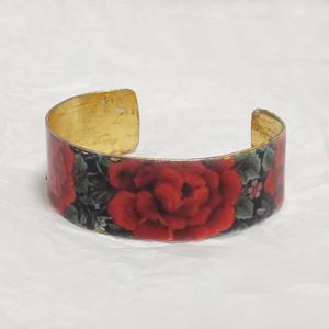 FE-Brz_PurezaRojo バングル(ブレスレット) マントン刺繍柄・赤系  スペイン製