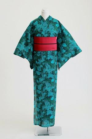 ROBE JAPONICA レディース浴衣 フラワーグリーン 綿100% 仕立て上がり 女性用