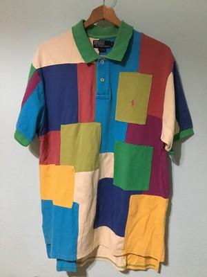 Ralph Lauren ラルフローレン パッチワーク ポロシャツ Lサイズ 希少 レアモデル