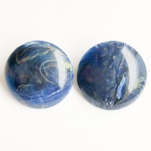 navy marble round earring[e-1075]